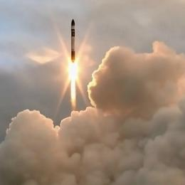 The black-capped rocket heads into space from New Zealand's Mahia Peninsula. Photo: Rocket Lab