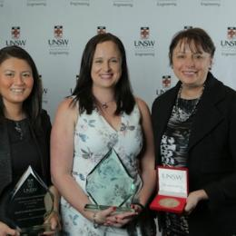 Award winners (from left): Prof Cordelia Selomulya, Narelle Underwood and Kathryn Fagg. Photo: UNSW