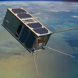 An artist's impression of the UNSW-EC0 satellite in orbit. Image: UNSW