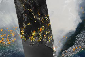 Satellite image of fire detecting camera