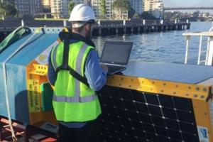 The Clever Buoy technology being used in Sydney Harbour. Photo: UTS