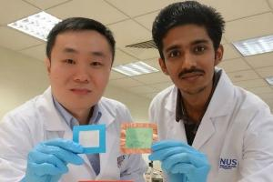 Assistant Professor Tan Swee Ching (left) and Sai Kishore Ravi with their filters. Photo: NUS