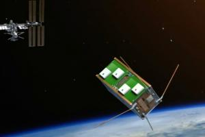 An artist's impression of UNSW-EC0 leaving the International Space Station. Image: UNSW/Jamie Tufrey