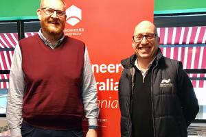 2018 Tasmanian Professional Engineer of the Year Donald Vaughan and Eddie Jager TFIEAust CEngT EngExec NER, Chair of Southern Tasmania Regional Group, speaking at the inaugural Southern Regional Group breakfast on 3 July 2019 about global careers in engineering